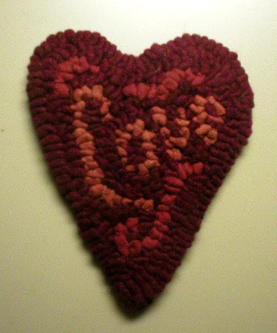 Love IS In The Air Primitive Folkart Hooked Rug Love Heart