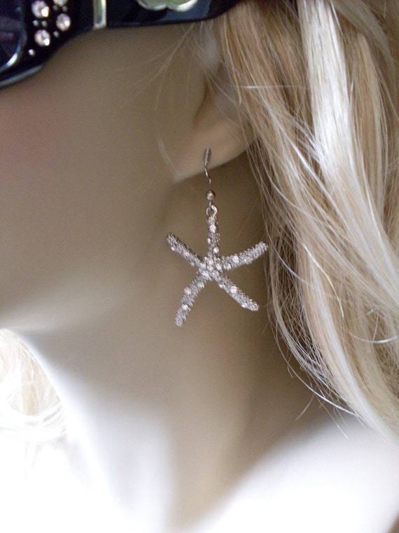 Bling Silver StarFish LJO Collection Shore Earrings