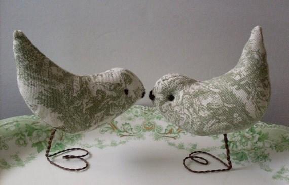 Sage Green Toile Love Birds LJO Collection Wedding Cake Topper Love Birds