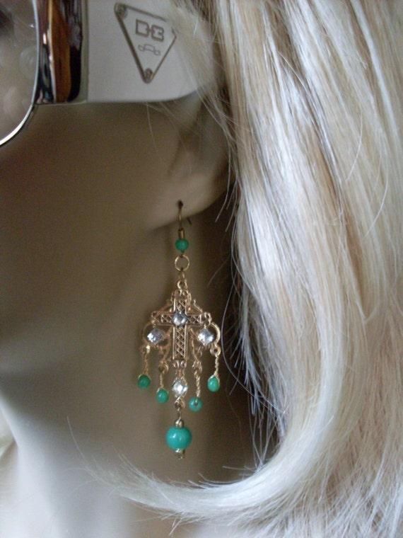 Elegantly Simple Pr of Chandelier Cross Earrings Turquoise Beads