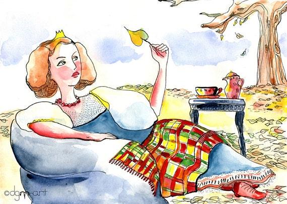 Autumn Princess - print  / picture for kids / nursery wall art / children illustration