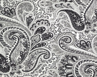 Black and White Paisley Custom Shower Curtain