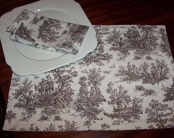 Chocolate Toile Placemats Set of Four Reversible