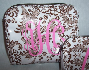 Personalized Chocolate Brown Toile Oilcloth LARGE Cosmetic Bag
