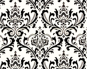 Black on White Traditions Damask Design Custom Shower Curtain