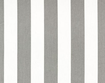 Grey and White Canopy Stripe Custom Fully Lined Drapery Panels  Set of 2, Grey Stripe Drapes