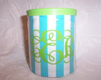 Monogrammed  Aqua and Lime Stripe with Zipper Accent Insulated Drink Hugger Gift Wrapped!
