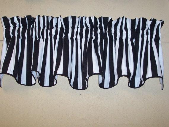 Black And White Canopy Stripe Custom Cambridge Valance