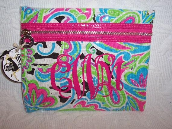 Large Monogrammed Wild  Paisley & Zebra  Design Cotton  PVC Cosmetic Case