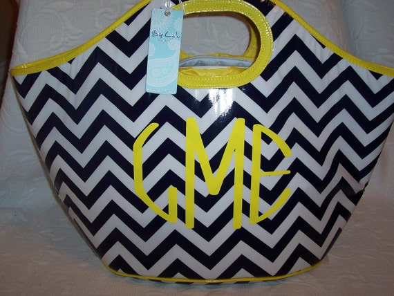Monogrammed  Cooler Tote Navy & White Chevron GIFT WRAPPED