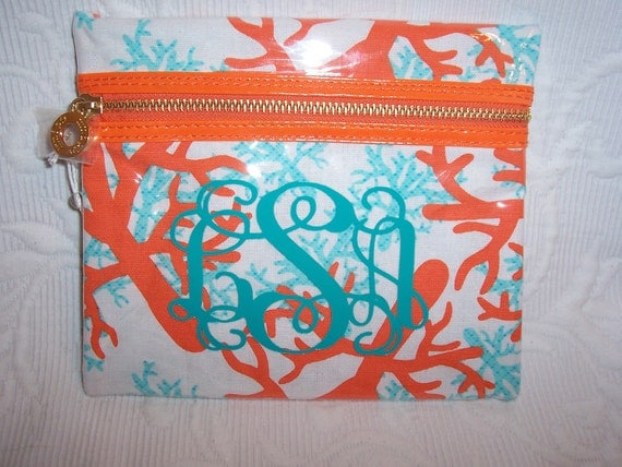 Large Monogrammed Coral Design Cotton  PVC Cosmetic Case