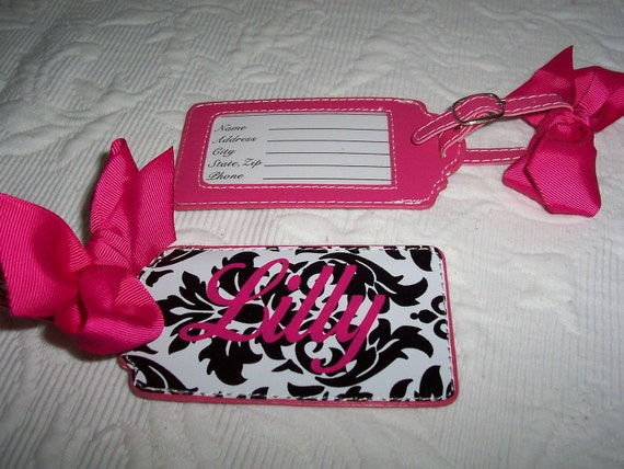 Personalized Luggage Tag Black & Hot Pink Damask