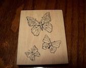 New Rubber Stamp Wood Butterflies
