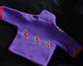 Hotsy Totsy of Vermont fleece jacket in purple with appliqued sweet watermelons.  Available in sizes: XS