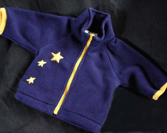 Hotsy Totsy of Vermont fleece jacket with appliqued stars to look like the little dipper in the night sky.  In sizes: S, M, L