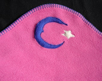 Hotsy Totsy of Vermont fleece whip stitched baby blanket with appliqued Moons and Stars (all 4 corners are appliqued).