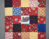 Handquilted Initial Stroller Quilt