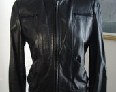 Size 13 / 14 - Black Leather 80's Riding Jacket by Casablanca  - Women's Ladies Mens Unisex Jacket