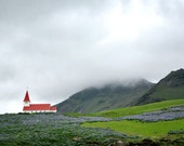 Vik, Iceland - Magical Fog Mist Mountain Moss Red Church Fairytale Fine art travel photography - 8x10