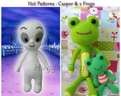 Casper (Baby Ghost) & 2 Frogs - Amigurumi Crochet Patterns by Huggieshop on Etsy