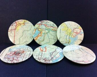 Chilliwack Vintage Map Coasters (Set of 6)