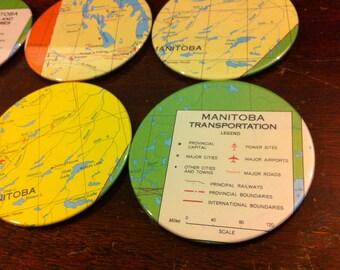 Manitoba vintage map coasters - Mining, Industries and Transportation - Manitoba, Canada (Set of 6)