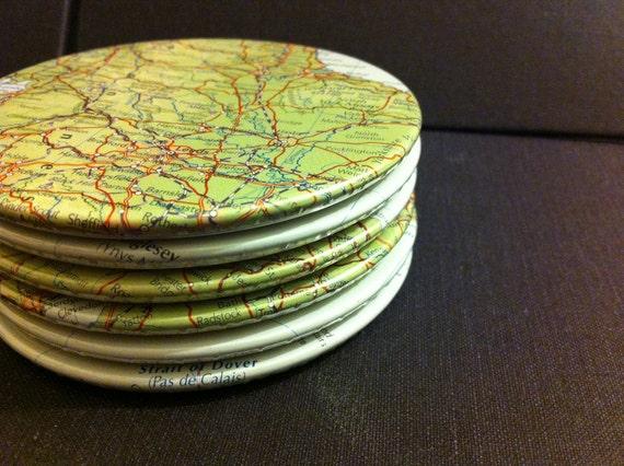 UK Map Coasters, England, Scotland, Wales and Northern Ireland, United Kingdom Set of 6