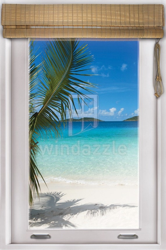 Items similar to wall decal faux window tropical beach for Door mural decals