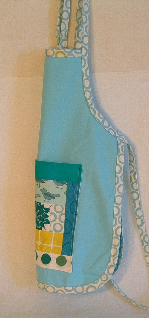 ON SALE  child apron, kids cooking apron, painting smock, large bib, play and craft apron in blue, and turquoise
