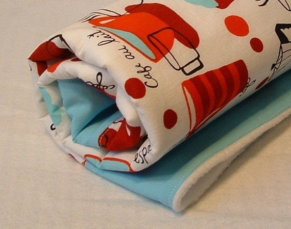 ON SALE fleece stroller blanket, crib quilt. red and blue espresso cups, handmade in colorado