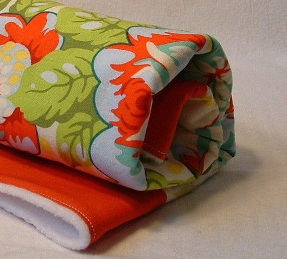 baby stroller blanket, fleece backed quilt, changing pad, play mat in red and yellow vintage bouquet