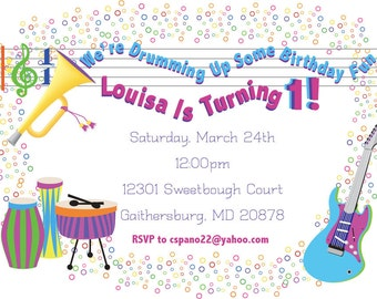 Children's Musical Birthday Party Invitation