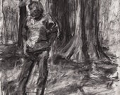 "Woodswalker - Charcoal Drawing - 11.5"" x 16.5"""