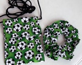 Birthday Party Favors, Set of 8 Purse and Hair Tie, Wristlet and Ponytail Holder Set of 8 Handmade Green Soccer Party Favors