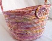 Batik Wedding Basket, Handmade Pastel Wedding Card Basket, Lovely Batik Fruit Basket, hand wrapped and hand coiled  fabric