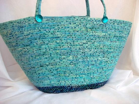 Large Batik Tote Bag, Turquoise Hand Bag, Handmade Aqua Batik Tote Bag,  hand wrapped and hand coiled