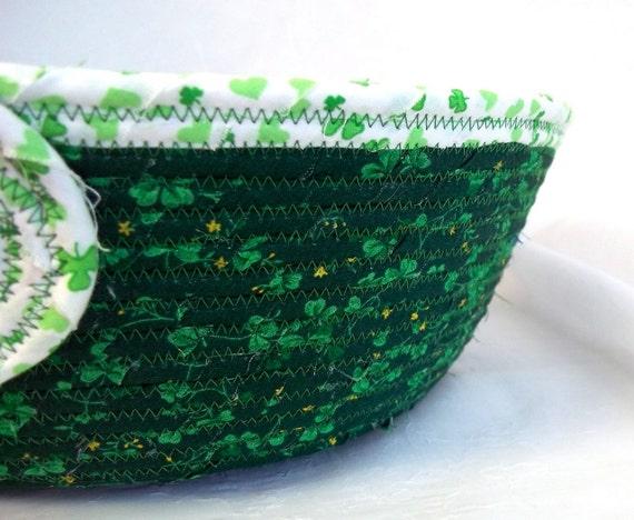 Happy St. Patricks Day, The Green Irish Basket, Handmade Green Candy Bowl, Fruit Bowl,  Irish Shamrock Napkin Basket, hand coiled fabric