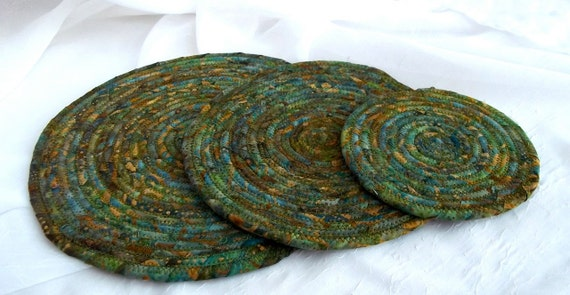 Green Quilted Trivets,  Handmade Olive Green Table Rugs, Lovely Batik Hot Pads,  Batik Mug Rugs, hand wrapped and coiled fabric
