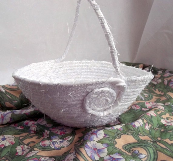 Flower Girl Basket, Handmade White Wedding Bowl,  Wedding Table Candy Dish, hand wrapped and hand coiled fabric