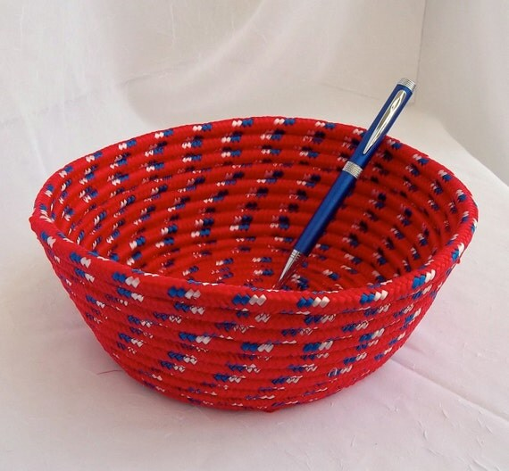 "Sale... Red Patio Basket, Handmade Plant Holder, Gift Basket, hand coiled nylon rope, 6"" plant holder for your deck"