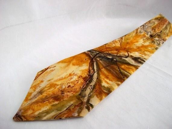 Gift for Men, Him, DAD, Beautiful Batik Tie, Handmade Tan Necktie, Tan Batik Gentlemen Necktie, Tan Burst 100% Cotton Batik Tie