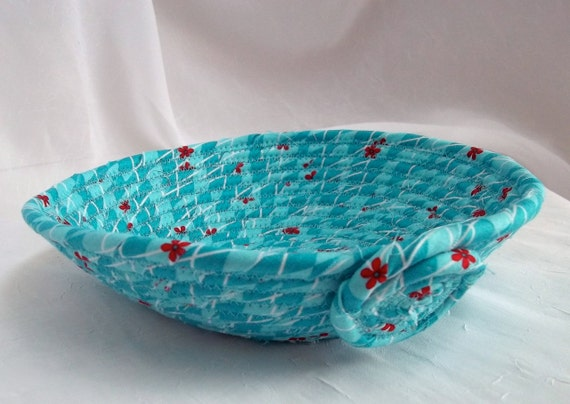 Sale... Turquoise Ring Catcher, Handmade Itty Bitty Aqua Basket, Jewelry Bowl, Bathroom Basket, hand wrapped and hand coiled fabric