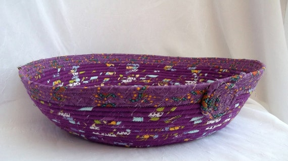 Purple Cat Bed, Handmade Purple Violet Cat Bed, Dog Bed, hand wrapped and coiled fabric