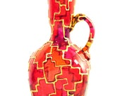 Hand Painted Glass Vase, geometric red