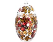Hand Painted Glass oval jar with lid, raspberries, Khokhloma-inspired
