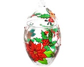 Hand Painted Glass oval jar with lid, Christmas