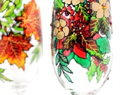 Hand Painted Glass, Winter, Christmas poinsettia and holly