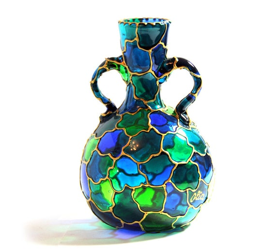 Hand Painted Glass Vase, emerald green