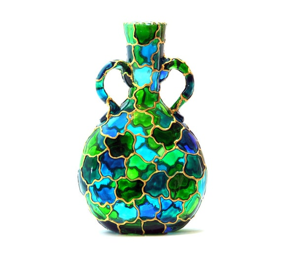 Hand Painted Glass Vase, flat with handles
