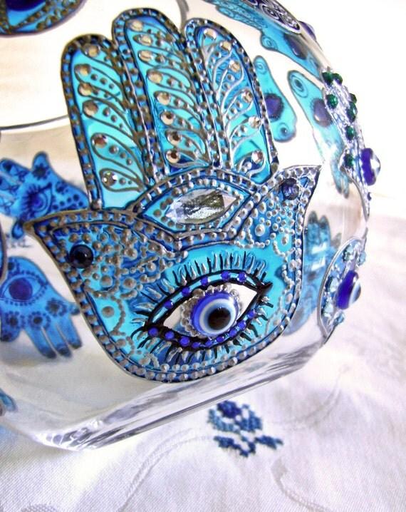 Hand Painted Glass Bowl, Khamsa